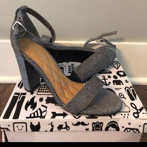 New pewter strappy block heels size 8